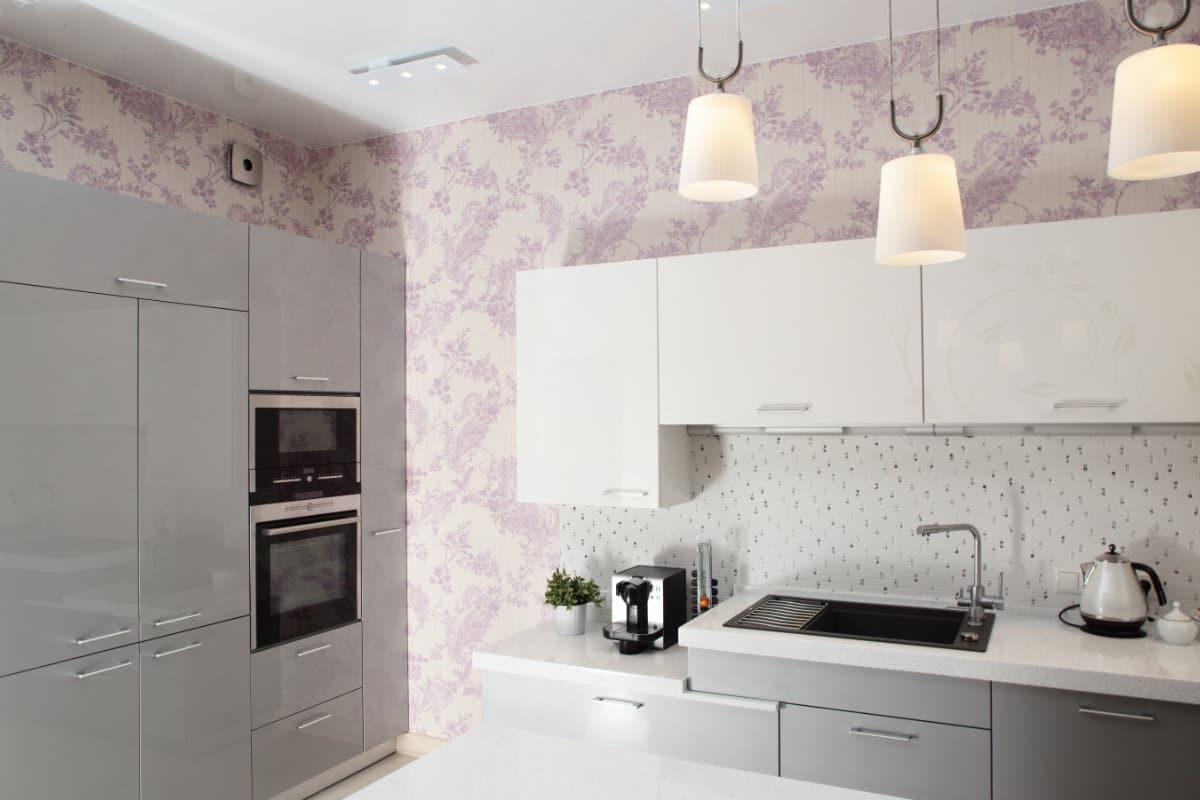 behangpapier landelijke stijl keuken