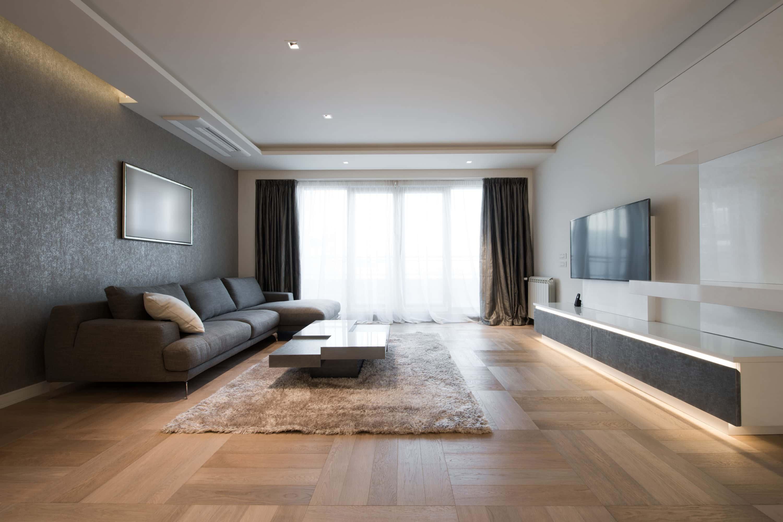 woonkamer met rauhfaserbehang